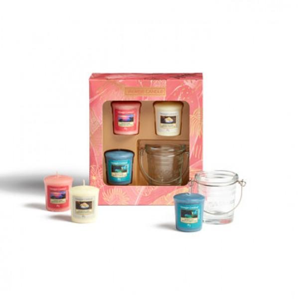 Confezione regalo con 3 candele sampler e 1 porta ...